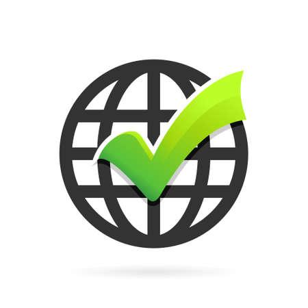 check mark logo with world symbol