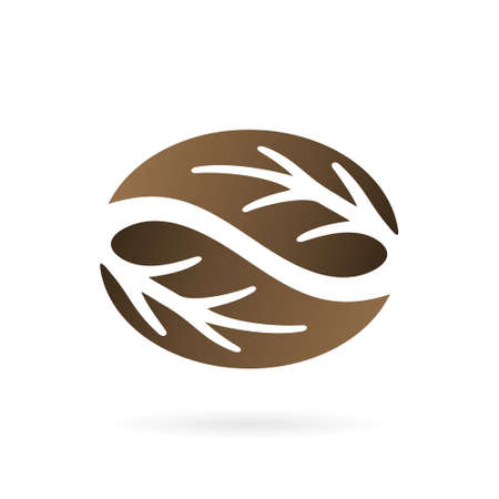 leaf coffee logo design template