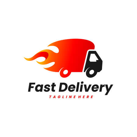 fast truck vector logo design