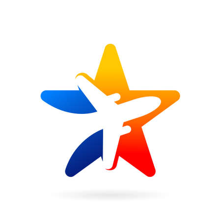 airplane star vector logo design