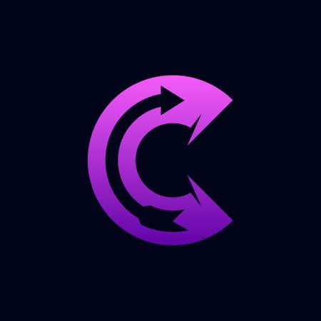 C logo forming arrow symbol Illustration