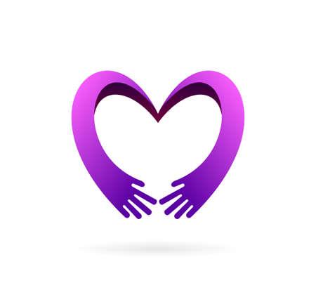 hand care logo forming heart symbol
