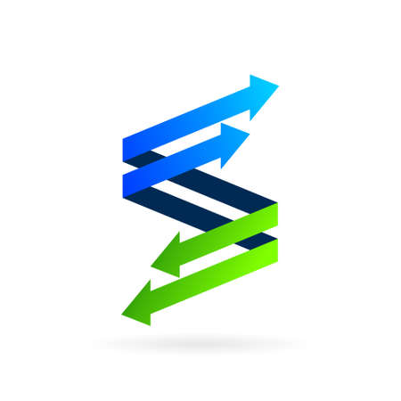 growth arrow logo forming letter s symbol