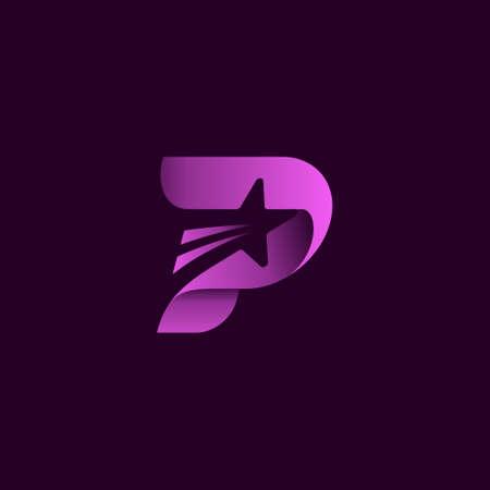 letter p star logo design