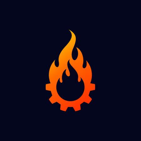 gear and fire vector logo design