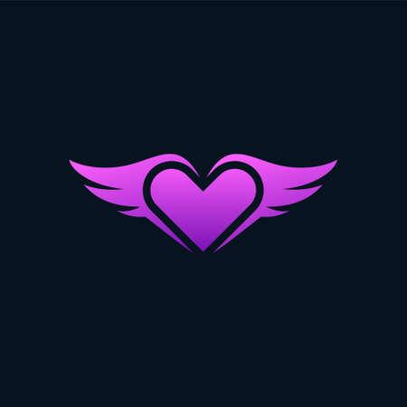 wings heart vector, wings love logo design
