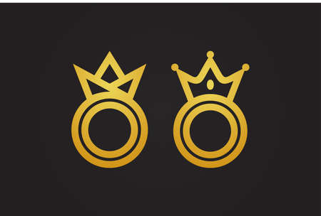 gold circle king and queen vector symbol