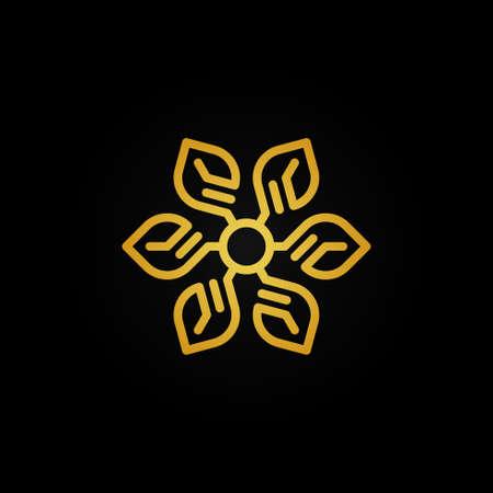 gold flower leaf vector logo design