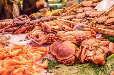 spanish food in boqueria market Foto de archivo