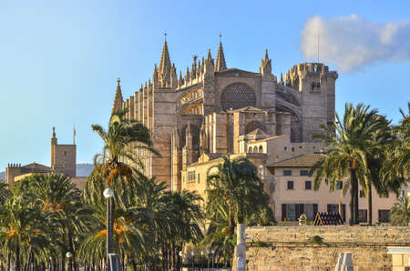 A view from Mallorca city and the Cathedral in a sunny day Foto de archivo