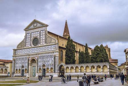 Santa Maria Novella church with visitors arround