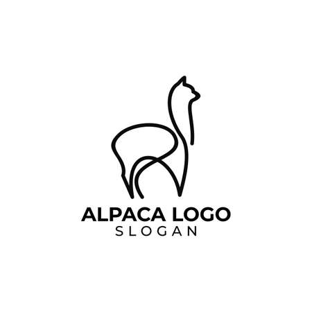 Simple line art alpaca logo design vector