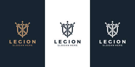 Armor and three sword logo design template Çizim
