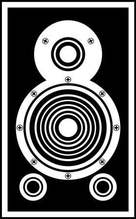 HiFi Speaker, black and white vector drawing, isolated symbol motif. Illustration