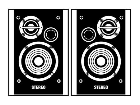 Two Stereo HiFi Speakers - black and white vector drawing, isolated symbol motifs.