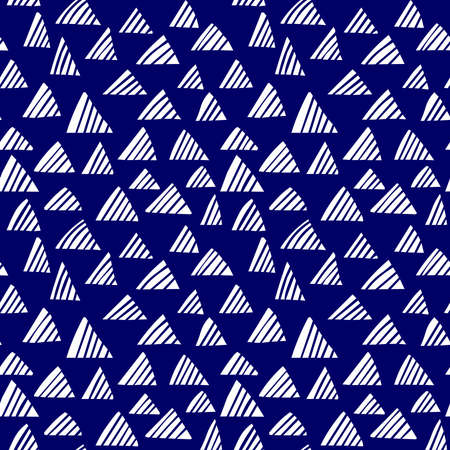 Hand drawn shaded triangles, seamless pattern vector (4up) - white on dark navy (editable)