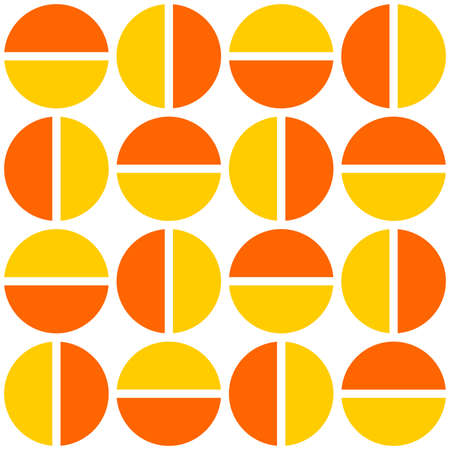 Geometric divided circles in two tones. Seamless vector pattern - orange and amber
