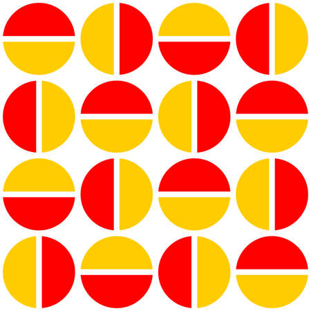 Geometric divided circles in two tones. Seamless vector pattern - Red and Amber Ilustracja