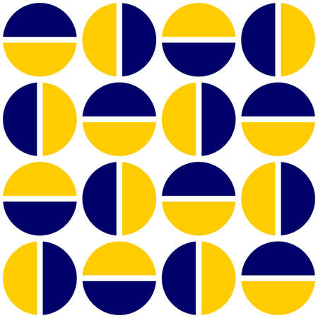 Geometric divided circles in two tones. Seamless vector pattern - dark blue and amber