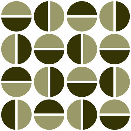 Geometric divided circles in two tones. Seamless vector pattern - khaki and dark olive