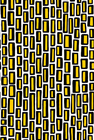 Abstract rectangles hand drawn seamless pattern - black, amber and white