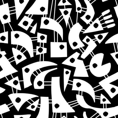 Interconnected abstract shapes, seamless vector pattern, white on black Illusztráció