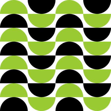Alternating Crescents 01 -  Seamless Vector Pattern - Martian Green and Black  イラスト・ベクター素材