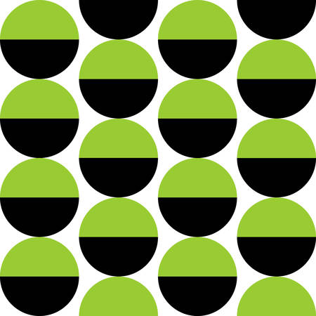 Alternating Crescents 02 -  Seamless Vector Pattern - Martian Green and Black