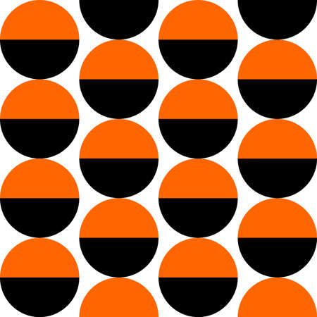 Alternating Crescents 02 -  Seamless Vector Pattern - Orange and Black