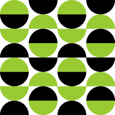 Alternating Crescents 03 -  Seamless Vector Pattern - Martian Green and Black  イラスト・ベクター素材