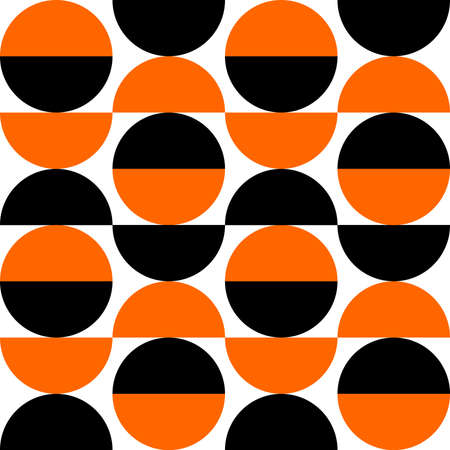 Alternating Crescents 03 -  Seamless Vector Pattern - Orange and Black  イラスト・ベクター素材