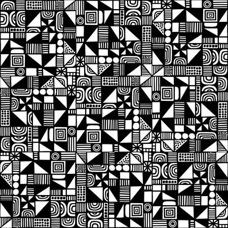 Complex Hand Drawn Geometric Seamless Pattern Vector - Black and White (editable) Illustration