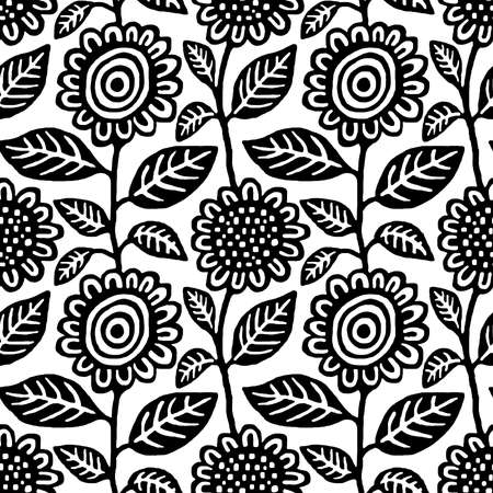 Hand Draw Floral Seamless Repeat Pattern Vector - Black on White (Editable) Banco de Imagens - 124975762