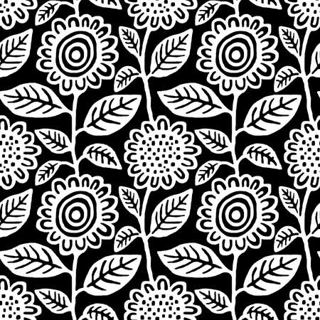 Hand Draw Floral Seamless Repeat Pattern Vector - White on Black (Editable) Banco de Imagens - 124975763