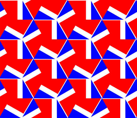 Geometric Abstract - Seamless Pattern Vector - Red, White and Blue Ilustração