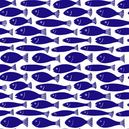 School of Fish Pattern - Seamless Pattern Vector - Dark Blue #000066 on White (Editable)