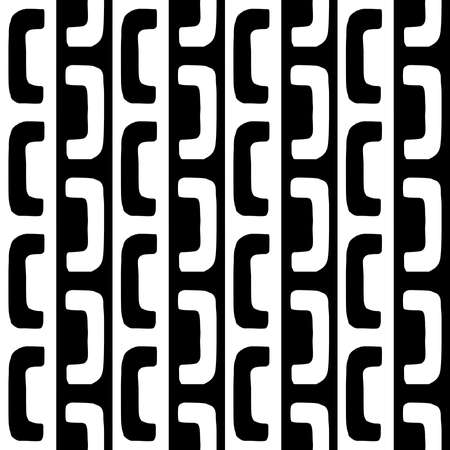 Hand Drawn Geometric Pattern With Alternating Bracket Like Shapes (V6) - Seamless Pattern Vector - Black and White (Editable)