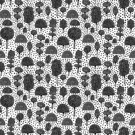 Ornamental Trees - Seamless Vector Pattern (4up) - Black on White (editable) Banque d'images - 128325706