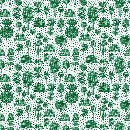 Ornamental Trees - Seamless Vector Pattern (4up) - Forest Green on White (editable)