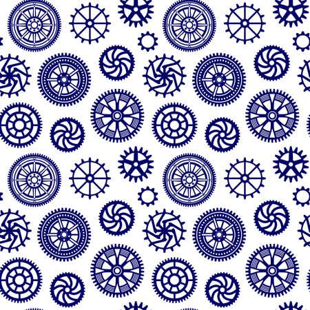 Decorative Gears Pattern - Seamless Vector Pattern (4up) - Dark Blue on White