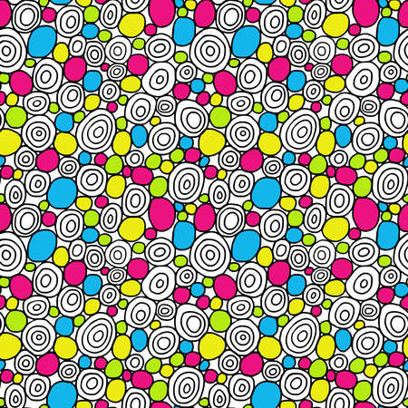 Hand Drawn Circles - Seamless Vector Pattern - Colours 01 Stock fotó - 131431516