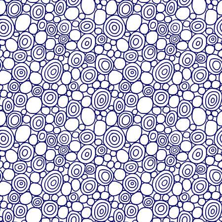 Cerchi disegnati a mano - modello vettoriale senza soluzione di continuità - blu scuro e bianco Vettoriali