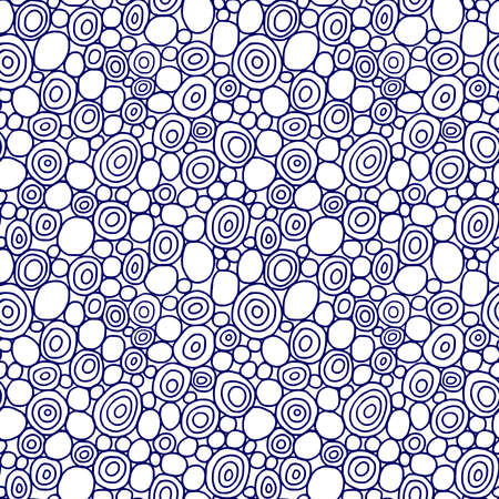 Hand Drawn Circles - Seamless Vector Pattern - Dark Blue and White