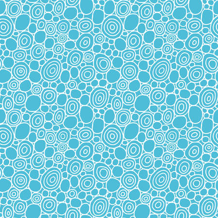 Hand Drawn Circles - Seamless Vector Pattern - White and Blue Green Illusztráció