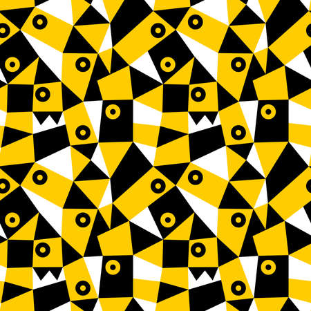 Geometric Abstract - Seamless Vector Pattern (4up) - Amber, Black and White Ilustracja