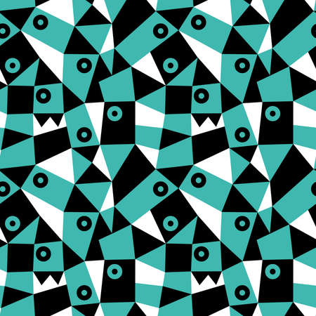 Geometric Abstract - Seamless Vector Pattern (4up) - Blue Green, Black and White