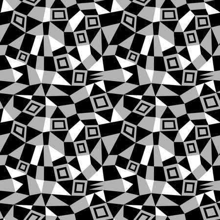 Geometric Abstract - Seamless Vector Pattern (4up) - Grey, Black and White