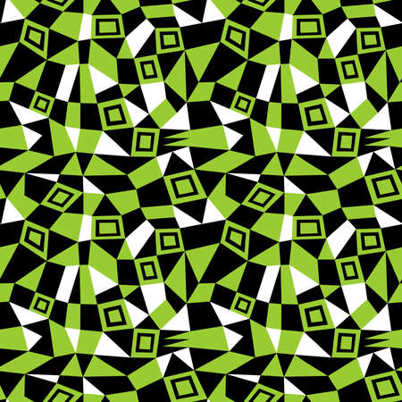 Geometric Abstract - Seamless Vector Pattern (4up) - Martian Green, Black and White