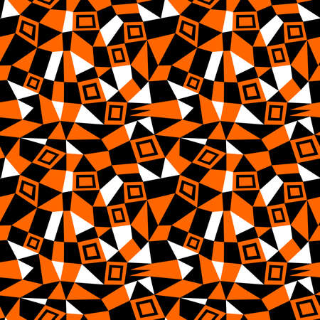 Geometric Abstract - Seamless Vector Pattern (4up) - Orange, Black and White