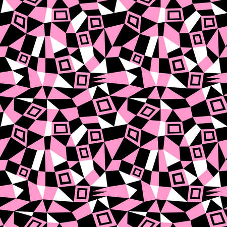 Geometric Abstract - Seamless Vector Pattern (4up) - Pink, Black and White